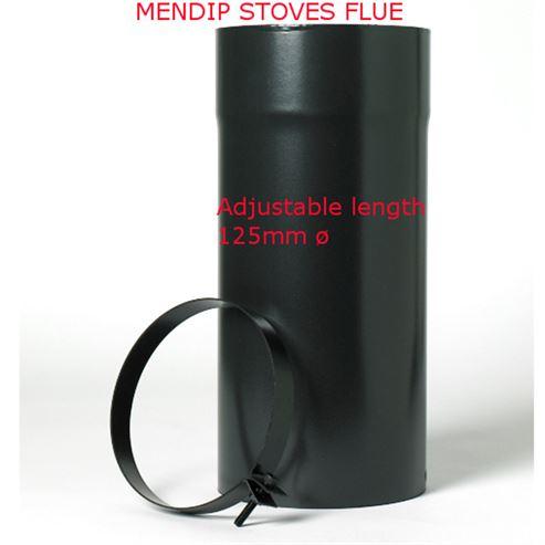 Picture of Matt Black Flue Pipe 125mm Adjustable Length
