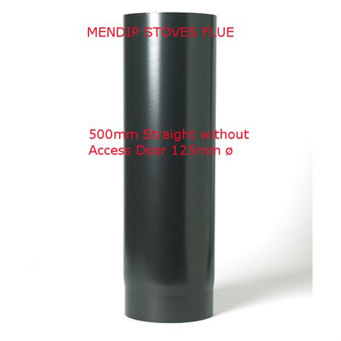 Picture of Matt Black Flue Pipe 125mm Straight Length