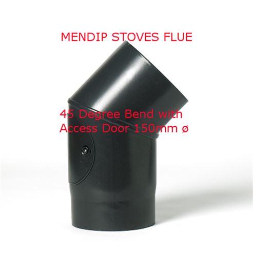 Picture of Matt Black Enamel Flue Pipe 150mm - 135 BEND