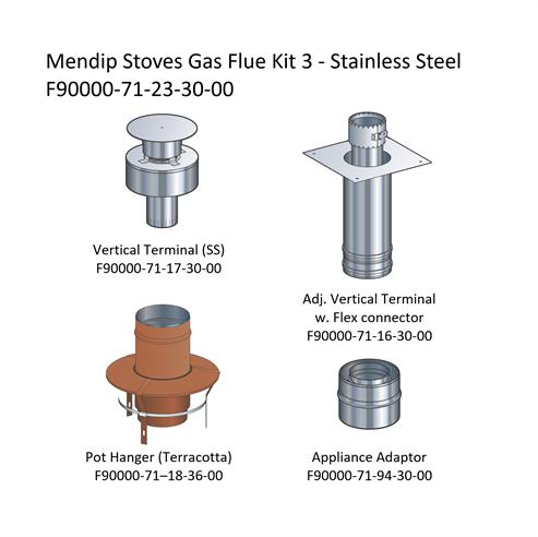 Picture of Mendip Stoves Gas Flue Kit 3 - Renovation Kit